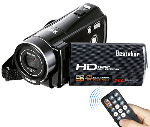 Video Camcorder, Besteker FHD 1080P 24MP Digital Video Camera 16X Digital Zoom Beauty Face Camera Support External 37mm Wide Angle Lens Remote Control HDMI Output (HDV-V7)