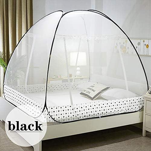 ホーム ポータブル 両開き 蚊帳、 ポップアップパオ テント、 折りたたみ式 ドーム ベッドキャノピー、 暗号化 虫よけ 寝室用 旅行 キャンプ、 簡単インストール,黒,1.2m