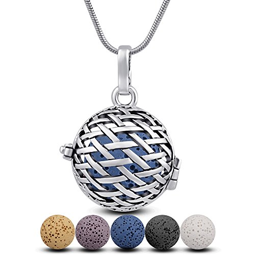 Beauty Jewelry Set - INFUSEU Aromatherapy Essential Oil Diffuser Necklace Cross Patterns Locket Pendant + 6 Colours Lava Stone Beads + 24