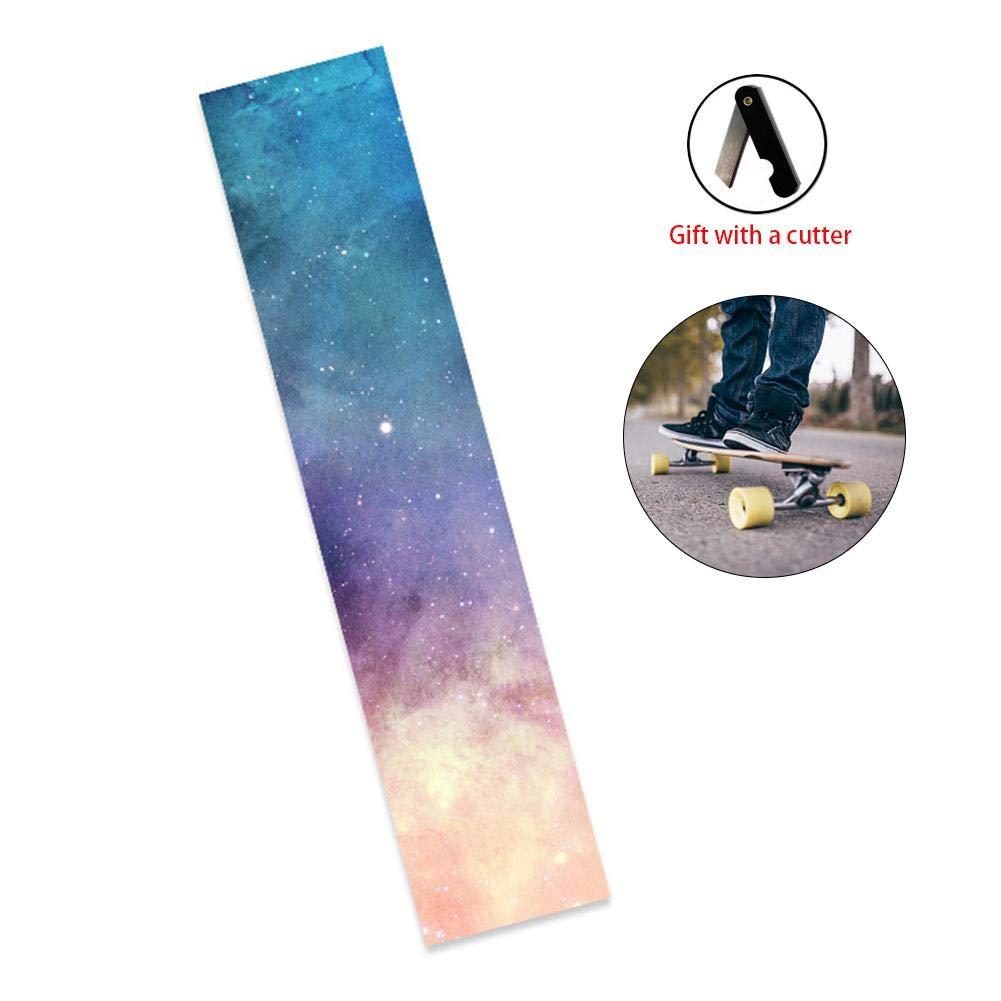 47.25''x9.85'' Skateboard Grip Tape Sheet, Long Skateboard Sandpaper Bubble Free,Waterproof Scooter Sticker, Longboard Grip Tape, Sandpaper Rollerboard Cutter Gereton