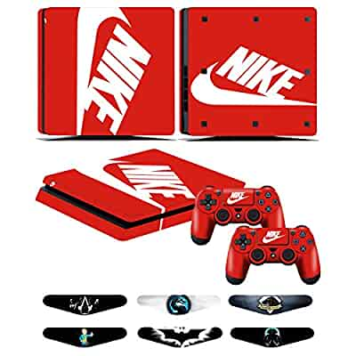 c28da840f380 ... Playstation 4 Slim - Stickers Cover for PS4 Slim Controller Sony  Playstation Four Slim Accessories with Dualshock 4 Two Controllers Skin -  Nike Logo