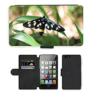 hello-mobile PU LEATHER case coque housse smartphone Flip bag Cover protection // M00136014 Amata Negro mariposa polilla phegea // Apple iPhone 4 4S 4G