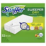 Swiffer Sweeper Dry Sweeping Pad Multi Surface Refills for Dusters Floor Mop, Citrus & Zest, 32 Count