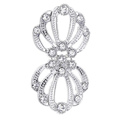 (Baoblaze Crystal Rhinestones Hooks Eyes Clasps Waist Extender Belt Buckle Sewing Supplies - Silver+White)