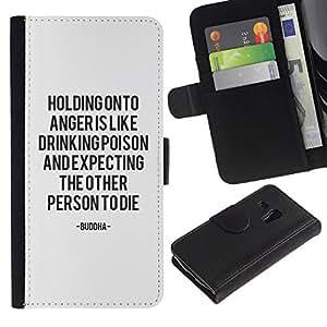 All Phone Most Case / Oferta Especial Cáscara Funda de cuero Monedero Cubierta de proteccion Caso / Wallet Case for Samsung Galaxy S3 MINI 8190 // problema de ira de texto a mantener la calma de motivación