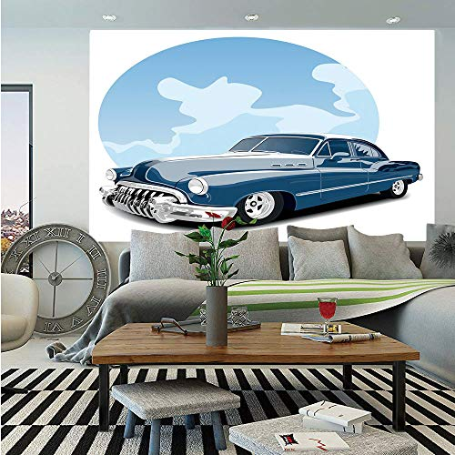 SoSung Cars Huge Photo Wall Mural,Old Timer Vintage Automobile Collectors Revival Nostalgia American Culture,Self-Adhesive Large Wallpaper for Home Decor 100x144 inches,Blue Pale Blue Black