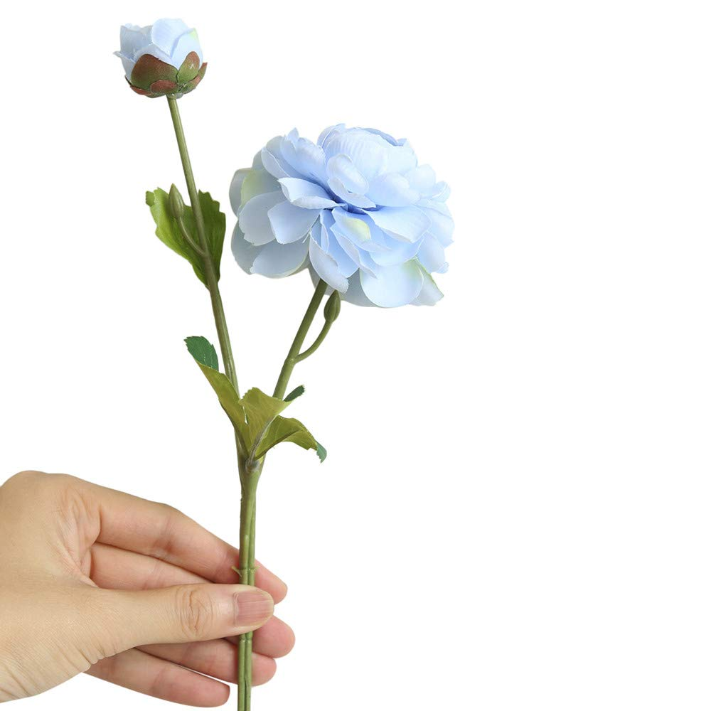 Artificial Flowers,Longay Artificial Fake Western Rose Flower Peony Bridal Bouquet Wedding Home Decor (Blue)