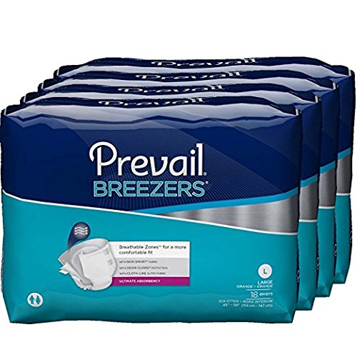 Prevail Breezers Ultimate Absorbency Incontinence Briefs  Large  18 Count  Pack Of 4