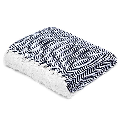 Americanflat Zaina Navy and White Herringbone Cotton Blanket Throw with Fringe - 50x60 Inches (Blankets Throw Patterned)