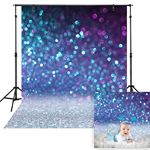Funnytree 5x7ft Durable Fabric Blue Bokeh Spots Backdrop (No Glitter) No Wrinkles Shiny Sparkle Sand Scale Halos Photography Background Sequin Newborn Baby Portrait Photobooth Photo Studio Props