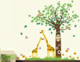 Pop-Decors-Removable-Vinyl-Art-Wall-Decals-Mural-for-Nursery-Room-Big-Tree-with-Cute-Giraffe