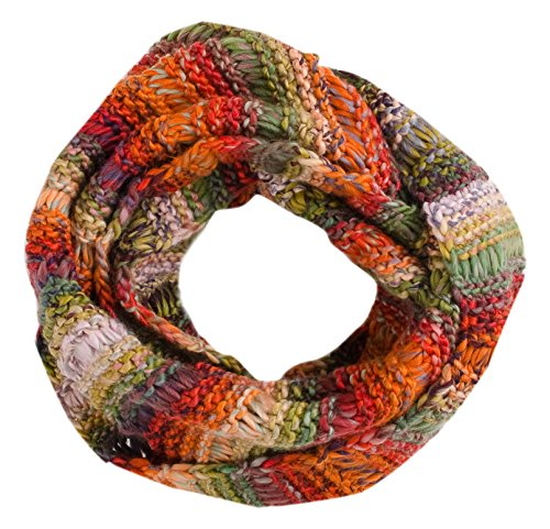 Stripe Knit Infinity Scarf - Tickled Pink Women's Vibrant Knit Stripe Infinity Scarf, Multicolor, One Size