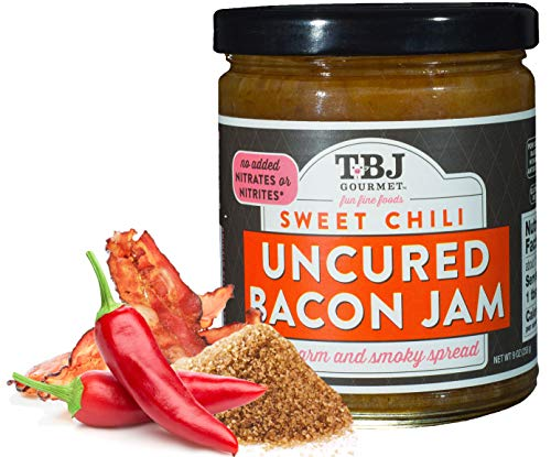 TBJ Gourmet Sweet Chili Bacon Jam - Original Recipe Bacon Spread - Uses Real Bacon, Sweet Chili, Garlic - No Preservatives - Authentic Bacon Jams - 9 Ounces