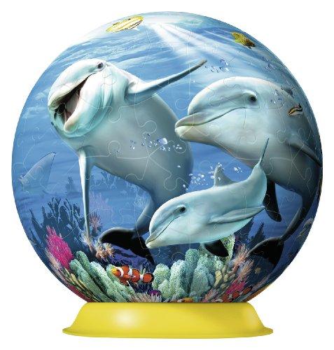 Ravensburger 12252 - Süße Delfine, 108 Teile 3D Puzzle-Ball