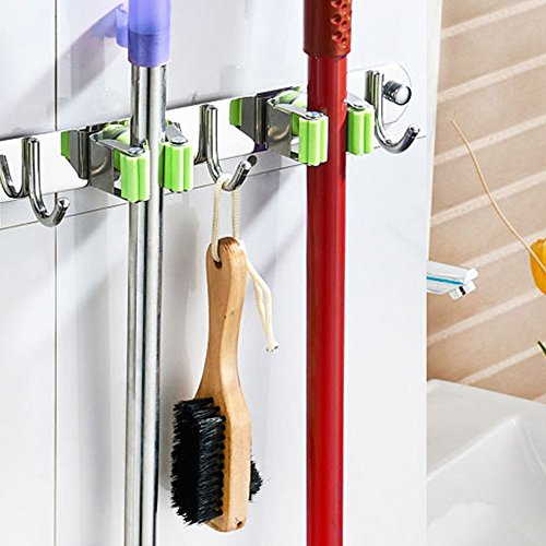 Mop and Broom Holder Wall Mount, Munto Stainless Steel Mop Holders, Garage Storage Racks for Kitchen and Garden (2 positions 3 hooks) by MUNTO (Image #4)