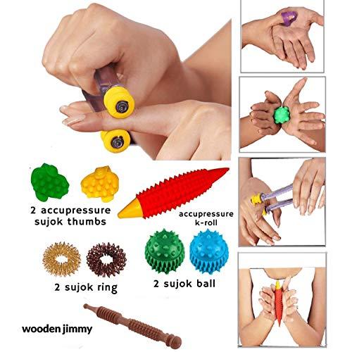 Acupressure Finger Masager Combo Kit ~ Sujok Ring, Sujok Power Ball, K-Roll, Sujok Thumbs, Wooden Jimmy with Reflexology…