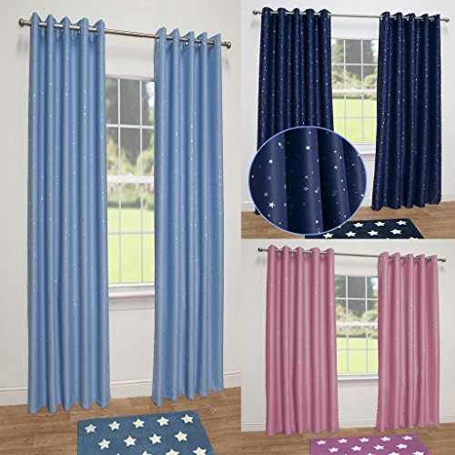 Stars Thermal Blackout Ready Made Eyelet Curtains Pink 66 Wide X 72 Drop Amazoncouk Kitchen Home