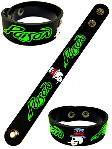 Poison Metal Punk Rock Music Band Logo Sign Rubber Silicone Bracelet Wristband by BEST EXPO (Metal Eye Patch)