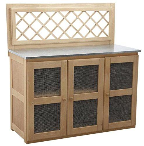 Schrank Küche aus Holz, Zink, 3-Türer