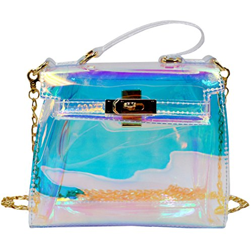 Meliya Women Transparent Shoulder Bags Mini PVC Holographic Evening Handbags Square Messenger Bag Crossbody Bags Colorful