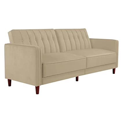 DHP Pin Velvet Convertible Sleeper Sofa In Tan