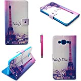SONY E3 Case, JCmax [Wallet Design] Superior PU Leather With Cute Stylish Pattern [Shock Proof] [Anti-Dust] Supreme Thin For SONY E3 (Free Gifts: 1x Stylus)-Eiffel Tower