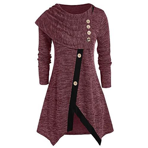 Aniywn Women's Autumn Winter Irregular Pullover Sweater Large Size Long Sleeve Button Asymmetrical Sweatshirt Red ()