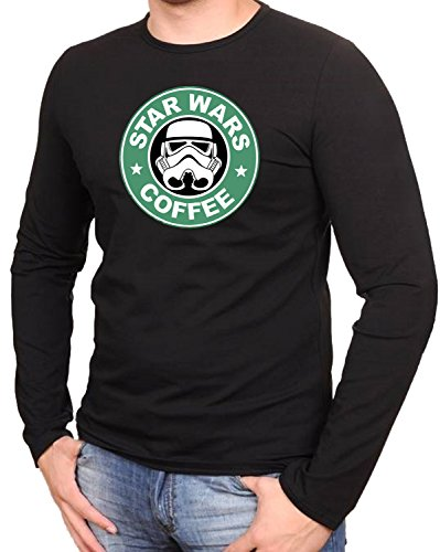 Star Wars coffee Darth Vader fun Schwarze Langarmshirt -360-LA