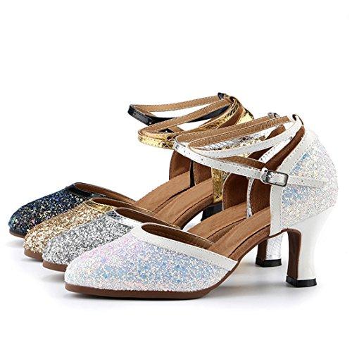Gold Shoes Latin Glitter 7cm Dancing Miyoopark Formal Ankle Heel Strap Womens Pumps Toe Close Party Evening 8UwwOYq