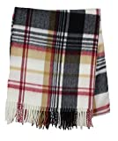 Women's 100% Cashmere Plaid Tassel Long Scarf (White)