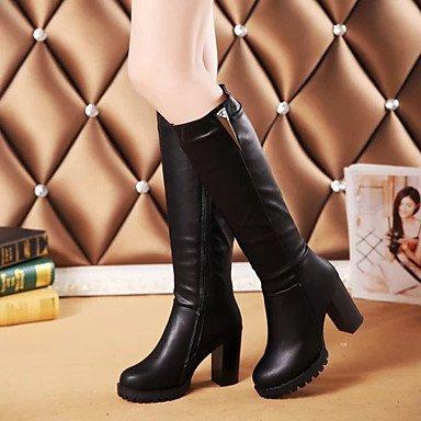 RTRY Zapatos De Mujer Otoño Invierno Pu Botas Botas De Combate Chunky Talón Rodilla Botas Altas Para Vestimenta Casual Negro Negro Us8 / Ue39 / Uk6 / Cn39 US8 / EU39 / UK6 / CN39