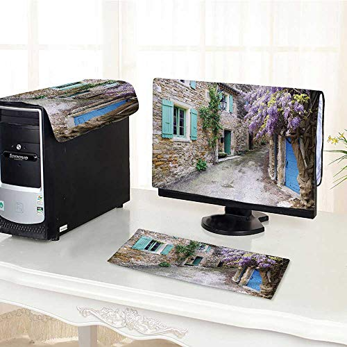 (UHOO2018 Desktop Computer Cover 3 Pieces Village of Provence Flower Purple Wisteria Vine Scratch Resistance /25