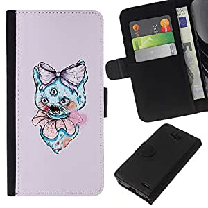 YiPhone /// Tirón de la caja Cartera de cuero con ranuras para tarjetas - 3 Eyed Cat - LG OPTIMUS L90