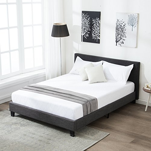 Mecor Upholstered Linen Queen Platform Bed Metal Frame with Wood Slat Support,Square Stitched Headboard,Black/Queen Size