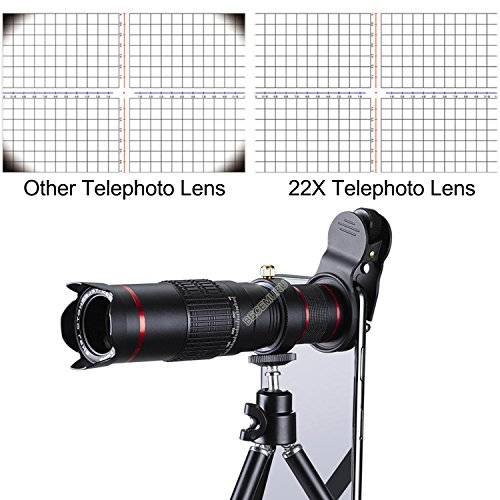 Camera Lens,BECEMURU 22X 4 in 1 Telephoto Zoom Camera Lens Kit Double Regulation HD Scale Distance FOV Phone Lens Attachment with Tripod for iPhone X/8/7/7 Plus/6s/6/5,Samsung Galaxy/Note Smartphone by BECEMURU (Image #5)