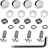 LFPartS Stainless Steel Rust Resistant License Plate Frame Security Anti-Theft Machine Type Screws Fasteners (M6x20mm - Chrome Caps)