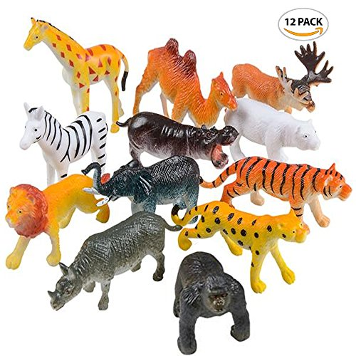 "Plastic Zoo - ArtCreativity Safari Animals Figurines Set for Kids (Pack of 12) | Assorted 2.5"" Small Animal Figures 