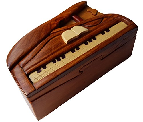 Handmade Wooden Art TRICK SECRET Piano Puzzle Trinket Box (3026) -