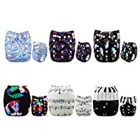 ALVABABY Baby Cloth Diapers 6 Pack with 12 Inserts Printed Designed Pocket Di...