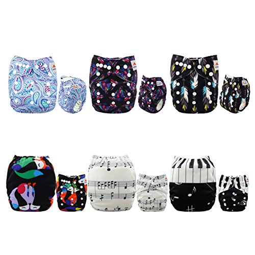 ALVABABY Baby Cloth Diapers 6 Pack with 12 Inserts Printed Designed Pocket Diapers Washable Reusable Dipaers Fitted for Baby Boys 6DM29