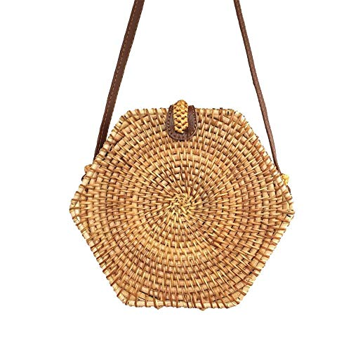 - Sanmubo Hexagon Rattan Bag Summer Beach Bag Hand Woven Bohemian Style Single Shoulder Pack Small Messenger Bag Handmade Wicker Woven Purse Handbag