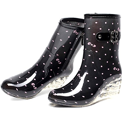 (Odema Women's Mid Calf Rain Boots Buckle Side Zipper Wedge High Heel Waterproof Shoes Snow Wellies Bootie)