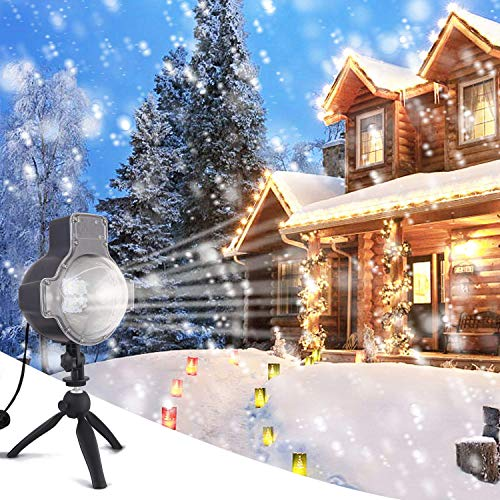 Zeonetak Snowfall LED Lights Christmas Projector Light Rotatable Snowflake with Wireless Remote Control Holiday and Party Indoor Outdoor Decoration