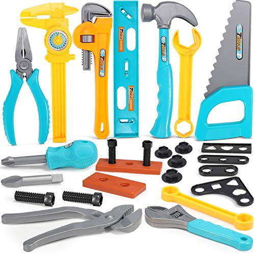 Geyiie 26 Pieces Durable Kids Tool Set, Construction Tool Set for Toddlers, Pretend Play Toy Tools Box for Boys, Girls, Age 3 4 5 6 7 Year Old Children