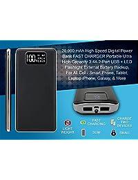 20000 mAh usb digital portátil Charger & Power Bank. Ultra Alta Capacidad de Batería, 3,4 A Dual Port, Digital Indicador LED de alimentación, Copia de seguridad, funciona con cualquier teléfono celular, tablet, computadora portátil o dispositivo USB.