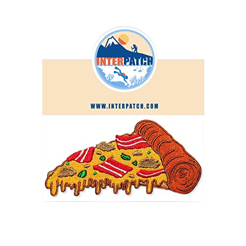 Feast Pizza - Meat Feast Italian Pizza Slice Fast Food Embroidered Patch Badge Sew On Iron On