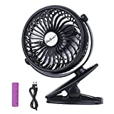Battery Operated Clip On Mini Desk USB Fan with Rechargeable 2600mAh Battery& USB Cable. 360°Rotation, Adjustable Speed. Cooling Portable Small Stroller Fan for Baby, Car Seat, Gym, Travel, Treadmill