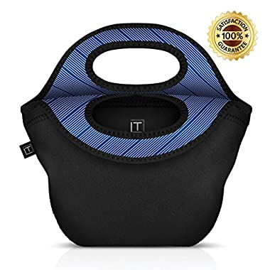 LONDON TAILOR Neoprene Lunch Bag - Well Built Insulated BYO Lunch Tote for Women & Men - 12  by 12  by 6  - Easy to Carry