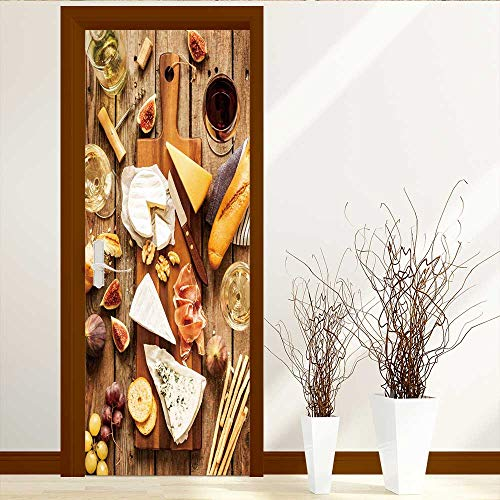 Accents Baguette (Privacy Window Film Decorative Window Film Different Kinds of Cheeses Wine Baguette Fruits and Snacks on Rustic Wooden fromabove Door Decals for Home Room Decoration W35.4 x H78.7)