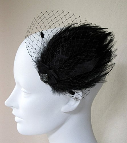 Burlesque Black Feather Veil Hair Clip by Deanna DiBene Millinery